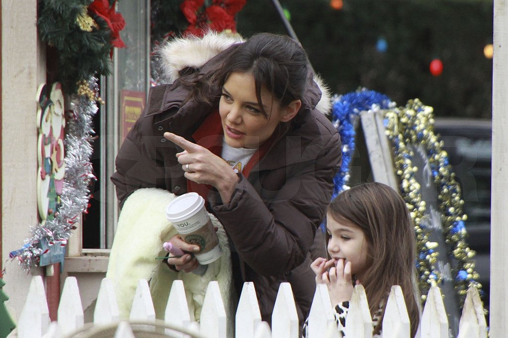 Suri Stops to Say Hi to Her New Animal Friends While on Set With Model Mom Katie