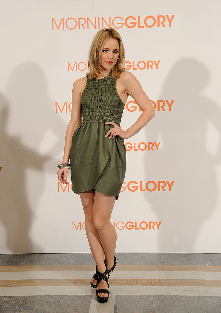 Going short in a puckered, green Geren Ford minidress for a Morning Glory photocall in Madrid.