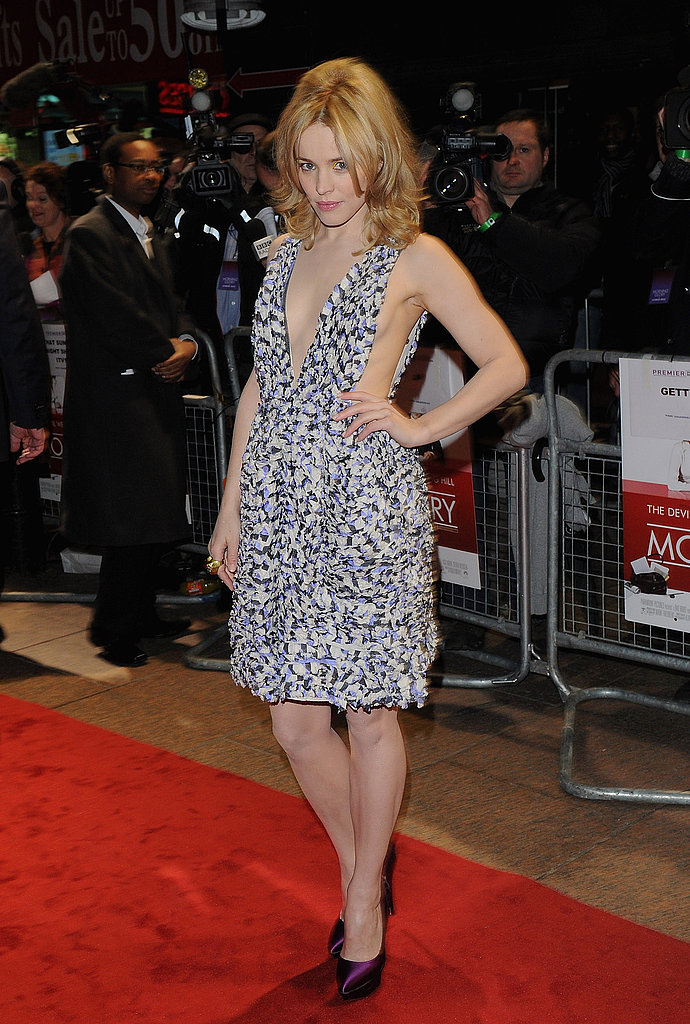 In a revealing, printed Suno dress at the London premiere.
