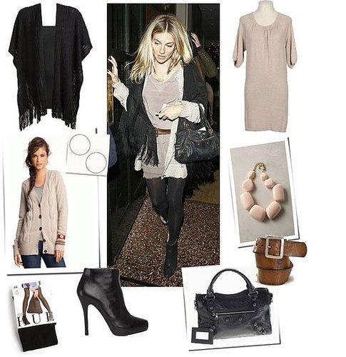 Pictures of Sienna Miller Wearing Black Tights and Ankle Boots, Carrying Balenciaga Bag