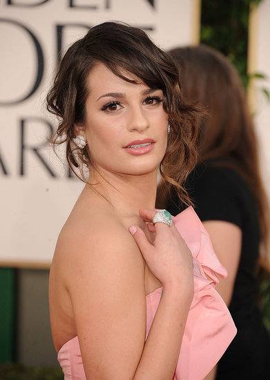 Lea Michele added a turquoise Lorraine Schwartz ring to a pink dress — brilliant!