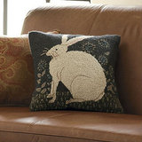 The clever hare has been spotted in many manifestations on the home decor front, including on this antique-style Hare Pillow ($50).