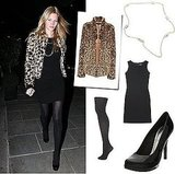 Photo of Lara Stone in London Leaving Scotts in Leopard Print Jacket