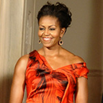 Photos of Michelle Obama in Long Red Alexander McQueen Gown