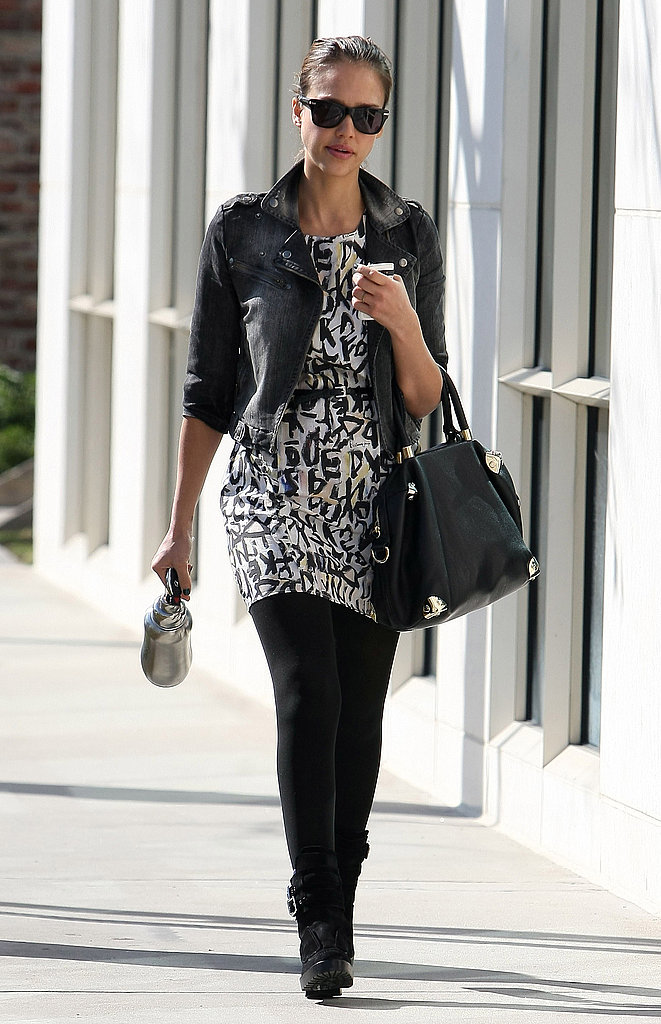 Jessica Alba doing what she does best — sporting effortlessly cool style with femme flair.