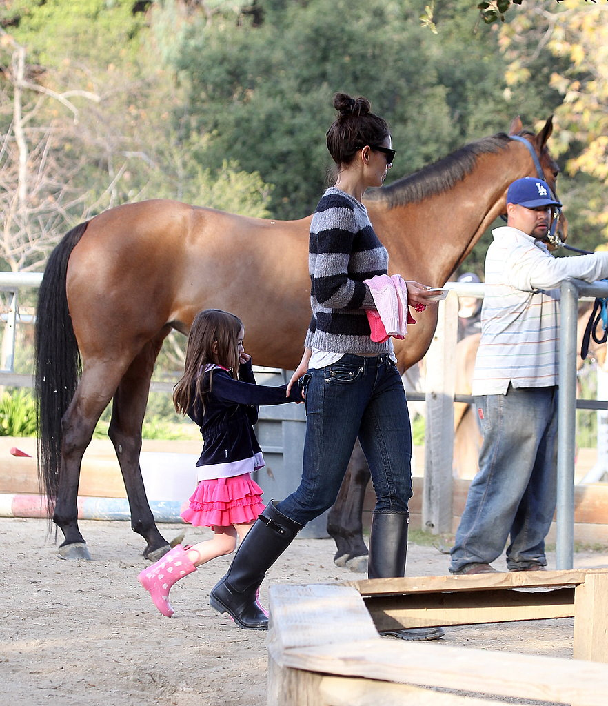 Katie Holmes Brings Suri and Her Pink Boots to Meet Horses!