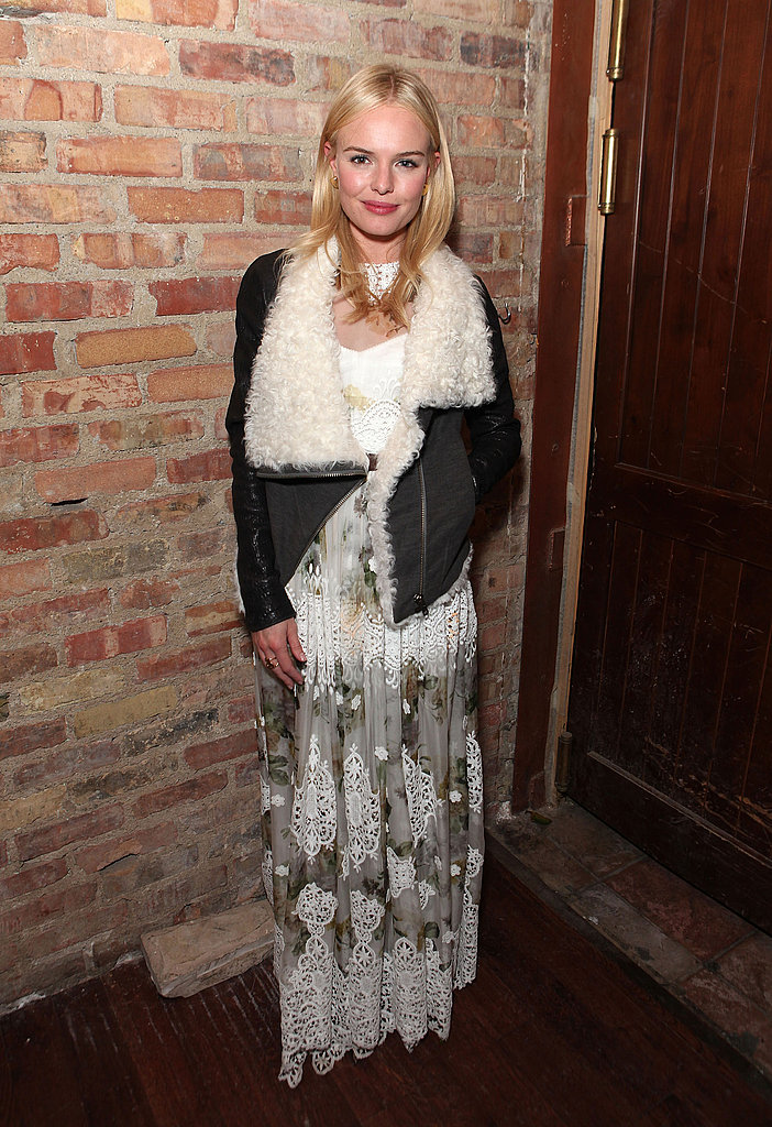 The best kind of mix-and-match style: Kate Bosworth paired a cozy, shearling-lined jacket with a delicate maxi at Sundance.