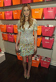 Whitney Port opted for a short and sweet, rainbow-sprinkled Thierry Mugler dress.
