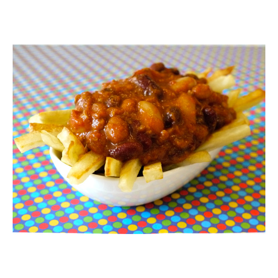 Four-Bean Chili-Baked Fries