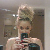 Lauren showed off her tall hairstyle.  Source: Twitter user laurenconrad