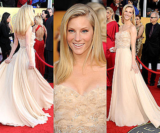 Heather Morris Wears Romona Keveza Nude Gown to 2011 SAG Awards