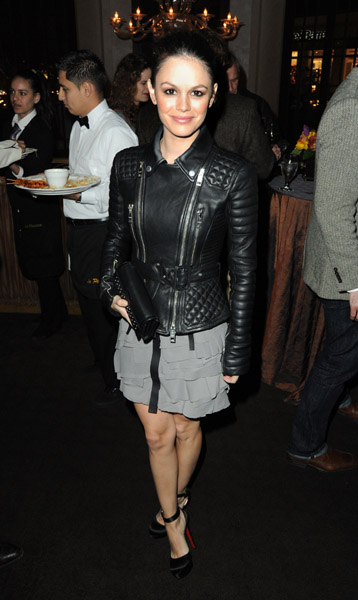 Rachel wore a studded motorcycle jacket over her dress to toughen it a bit.