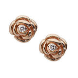 Mini Rose Stud Earrings With Diamonds ($275)