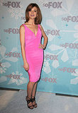 A bubblegum pink dress, a la Jayma Mays's, gets a dose of chic via black sandals.