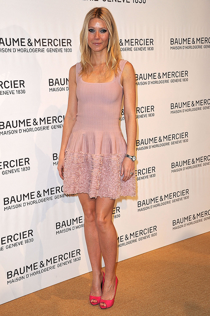 For only a pop of color, do like Gwyneth Paltrow and wear a soft pink dress with hot pink heels.