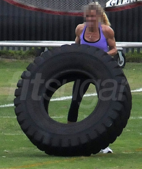 Pictures of Celebrity Working Out With Large Tire