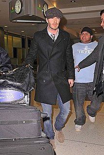 Pictures of David Beckham at JFK Airport to Spend Valentine's Day With Pregnant Victoria