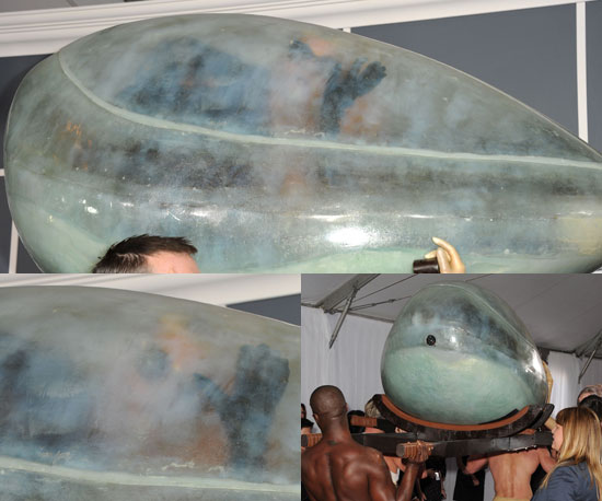 Photos of Lady Gaga Arriving at the 2011 Grammy Awards in a Perspex Womb