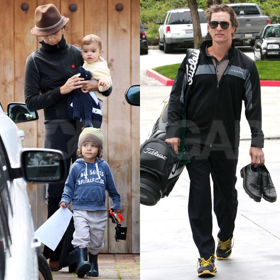 Pictures of Matthew McConaughey Golfing and Camila Alves With Levi and Vida
