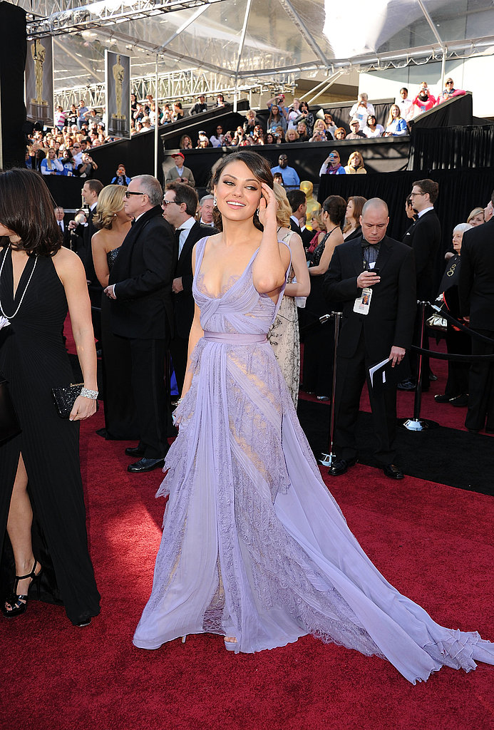Mila Kunis: New on the awards circuit, but not a novice when it comes to dressing for the occasion — her lavender Elie Saab couture dress well suits its wearer.