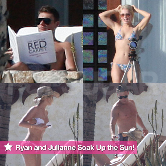 Shirtless Ryan Seacrest Studies While Julianne Hough Soaks Up the Sun in a Sexy Bikini