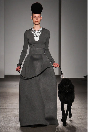 Like model, like pup on the Isaac Mizrahi runway.
