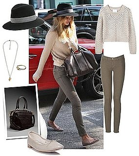 Rosie Huntington-Whiteley Wearing a Fedora and Ballet Flats in LA