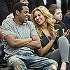 Pictures of Jay-Z and Beyonce Knowles at New Jersey Basketball Game