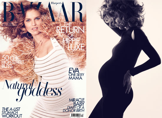 Eva Herzigova Poses as Harper's Bazaar UK's First Pregnant Cover Star