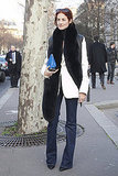We love Taylor Tomasi Hill's take on slim denim and fur, just clean lines and great accessories.