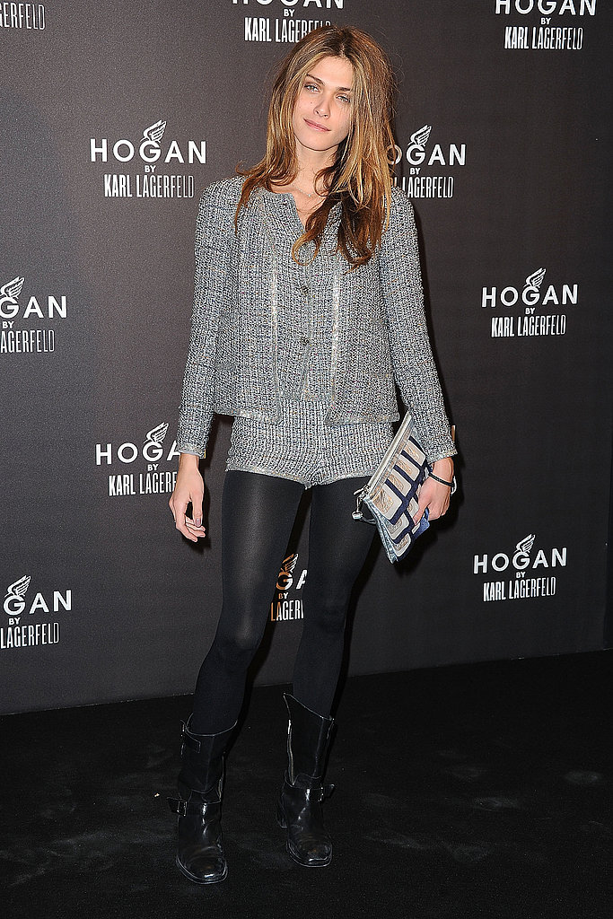 It takes a bod like Elisa's to pull off the tweed hot pants she wore to Hogan by Karl Lagerfeld's cocktail party last week — we absolutely love it!