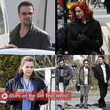 Brad Pitt, Christina Hendricks, and Alyssa Milano on Set