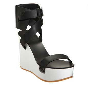 We're enamored with the strong black and white contrast. Chloe Ankle Cuff Wedge ($645)