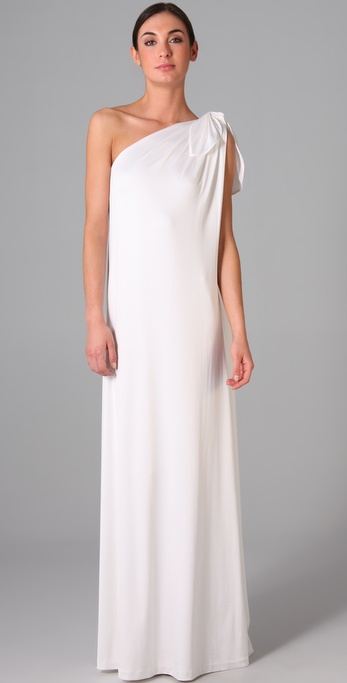 We love the modern, minimalist vibe — and the price — of this one-shoulder gown.  Halston Heritage Shoulder Knot Gown ($455)