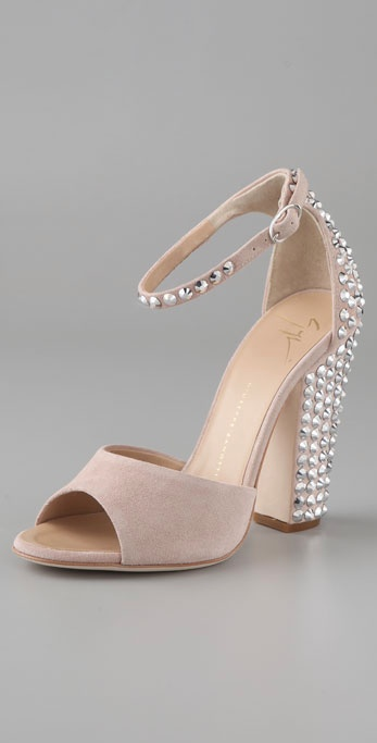 "A pair of fabulous, crystal-studded heels you'll wear long after you say ""I do."" Giuseppe Zanotti Suede Ankle Strap Sandals with Crystals ($1,195)"