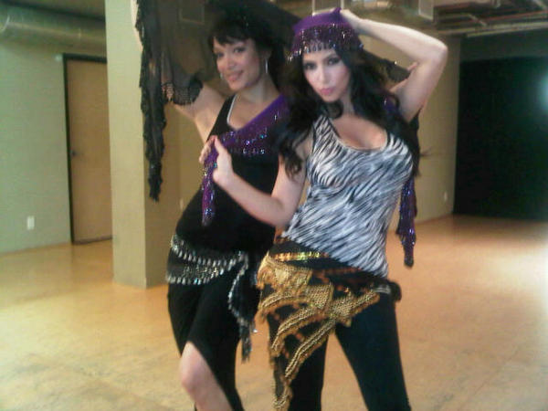 Kim Kardashian got glammed up for belly dancing.