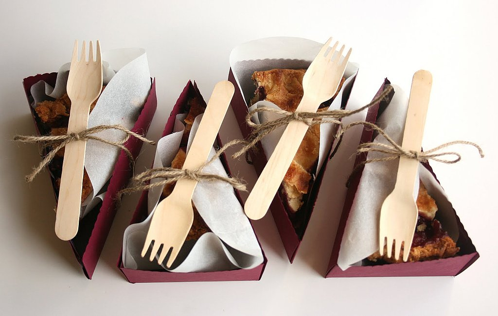 These pie-shaped boxes ($20 for 24) dress up perfect slices of pie. Source