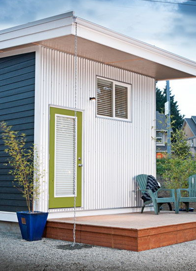 The Cube House is a modern microhouse company based in British Columbia. Each home is 12 by 12 square feet, and features a European-style bedroom and separate living, kitchen, and bedroom spaces.