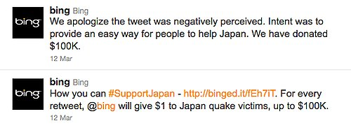 Microsoft Bing's Japan Earthquake Twitter Campaign.