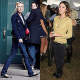Cool, dressed-down denim for both; Sienna tops hers with a sweet blazer, Alexa goes lacy.