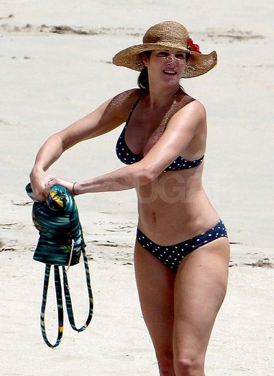Stephanie Seymour Wears a Teeny Polka-Dot Bikini at the Beach With Her Family