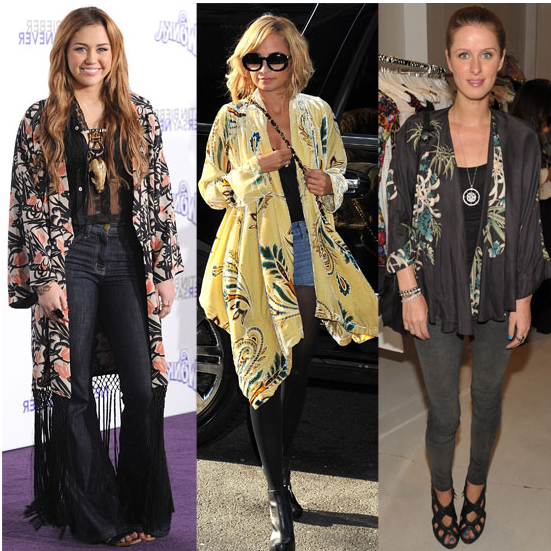 We spotted Miley Cyrus, Nicole Richie, and Nicky Hilton looking soft and chic in the kimono jacket trend.