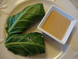 Collard Green Wraps with Tahini-Umeboshi Sauce