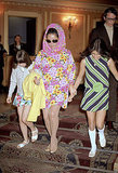 Sporting springy florals with her kids in London.