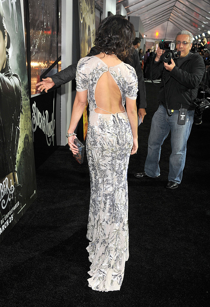 A full-length shot of the back of Vanessa's dress — amazing!
