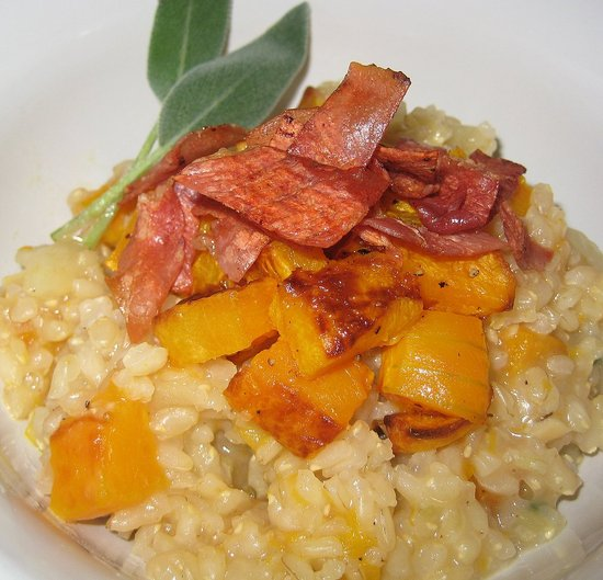 Roasted Butternut Squash Risotto with Crispy Prosciutto and Sage
