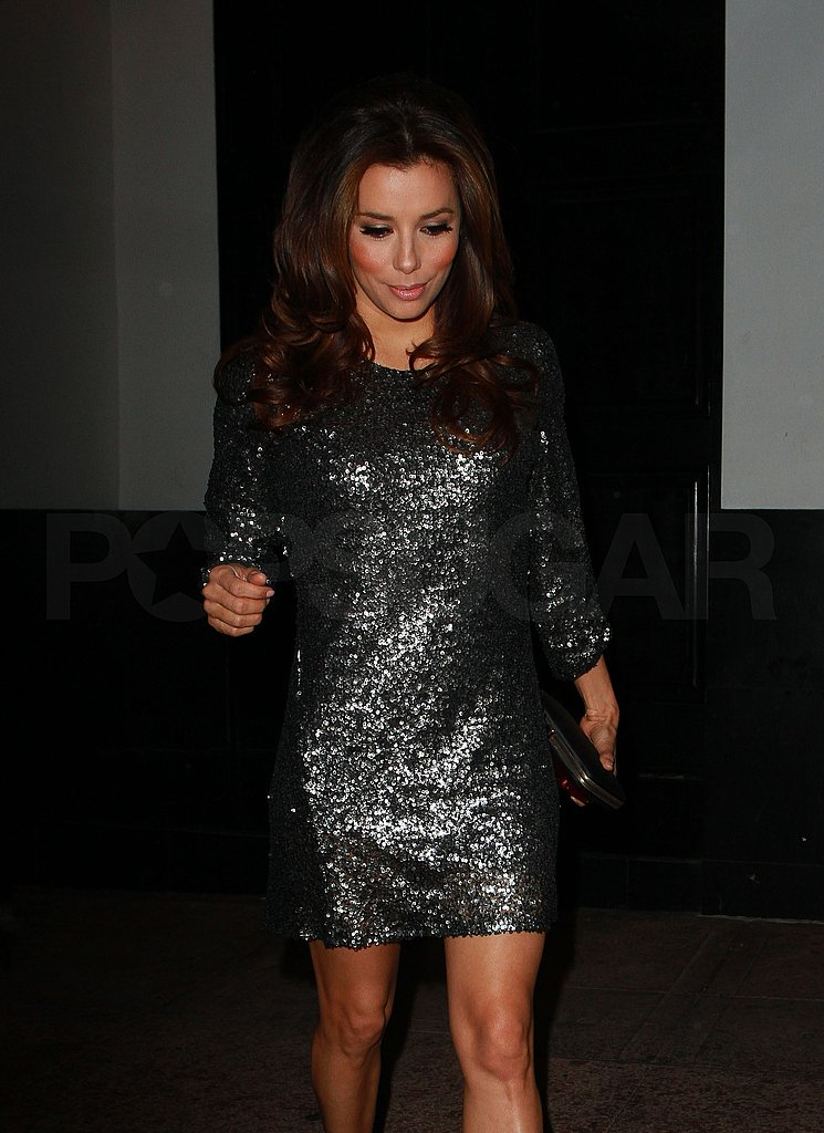 Eva Has a Sparkly, Solo Night Out Without Eduardo