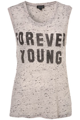 Every concert girl needs a rocking tee, and this one shares the perfect message. Topshop Forever Young Print Tee ($36)
