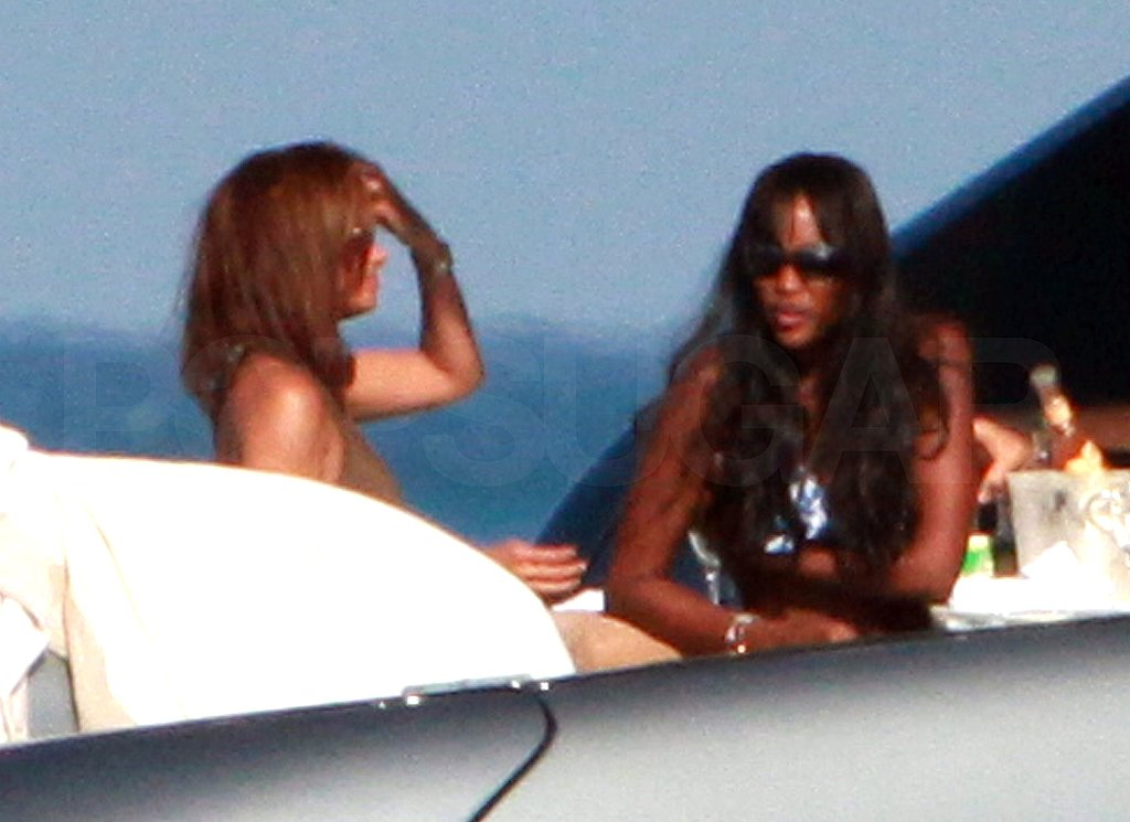 Naomi Campbell Does Lunch on a Yacht in Her Bikini