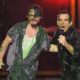 Johnny Depp took the stage with Ben Stiller in 2005 before being showered in slime.